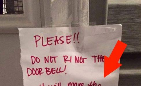 Den nybakte moren hang denne advarselen i trappeoppgangen. Naboene må bare le!