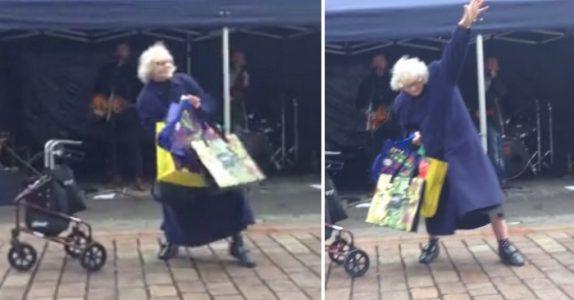 Bandet spiller superlåten av AC/DC på torget – da slipper den eldre damen rullatoren og gjør DETTE!